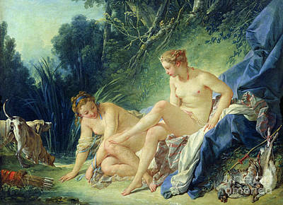 Diana Getting Out Of Her Bath Poster by Francois Boucher