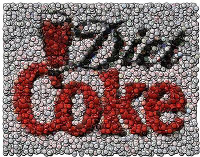 Diet Coke Bottle Cap Mosaic Poster by Paul Van Scott