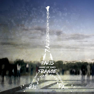 Digital-art Paris Eiffel Tower No.4 Poster by Melanie Viola