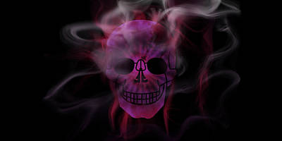 Digital-art Smoke And Pink Skull Panoramic Poster by Melanie Viola