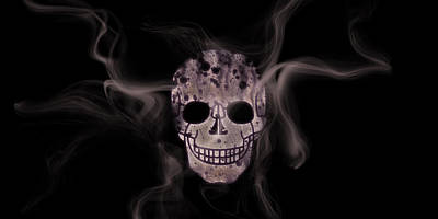 Digital-art Smoke And Skull Panoramic Poster by Melanie Viola