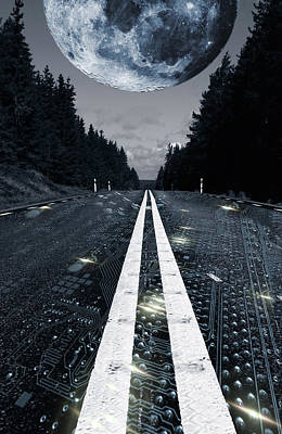 Digital Highway And A Full Moon Poster by Christian Lagereek