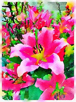 Digital Watercolor Of Pink Lilies Poster by Anita Van Den Broek