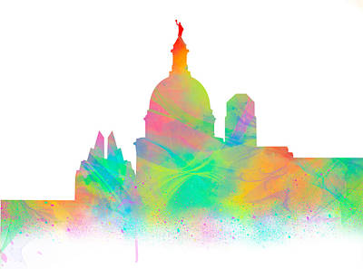 Digital Watercolor Of The Texas Capital Poster by Tod and Cynthia Grubbs