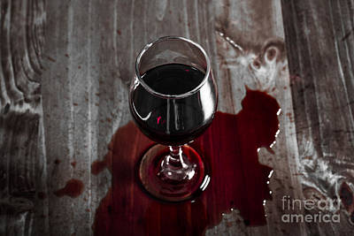 Diner Table Accident. Spilled Red Wine Glass Poster by Jorgo Photography - Wall Art Gallery