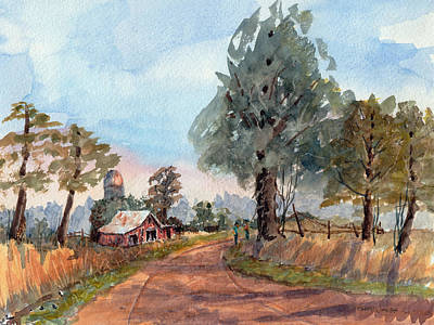 Dirt Road Farm - Watercolor Poster by Barry Jones