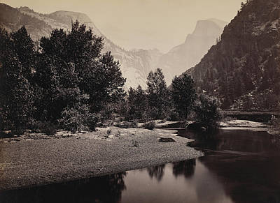 Distant View Of The Domes, Yosemite Valley, California Poster by Carleton Emmons Watkins