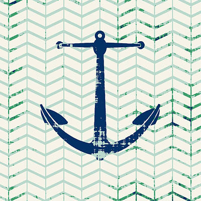 Distressed Navy Anchor V2 Poster by Brandi Fitzgerald