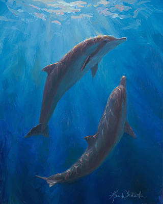 Dolphin Dance - Underwater Whales Poster by Karen Whitworth