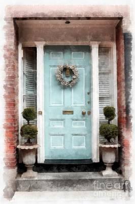 Doors Of Boston Blue Poster by Edward Fielding