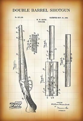 Double Barrel Shotgun Patent 1906 Poster by Daniel Hagerman
