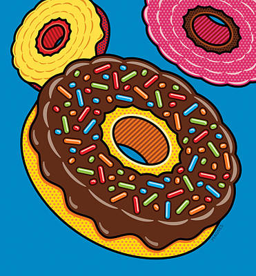 Doughnuts On Blue Poster by Ron Magnes