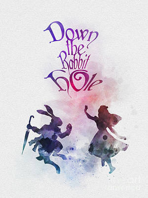 Down The Rabbit Hole Poster by Rebecca Jenkins