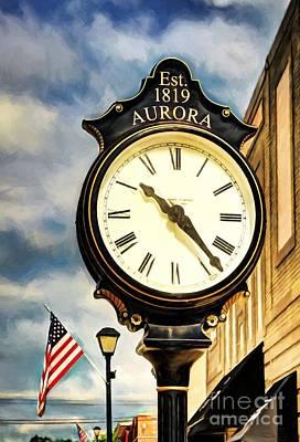 Downtown Aurora Indiana Poster by Mel Steinhauer