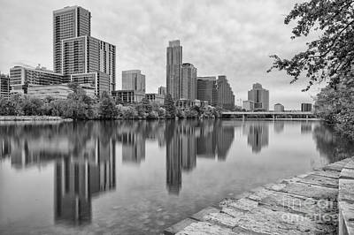 Downtown Austin In Black And White Across Lady Bird Lake - Colorado River Texas Hill Country Poster by Silvio Ligutti