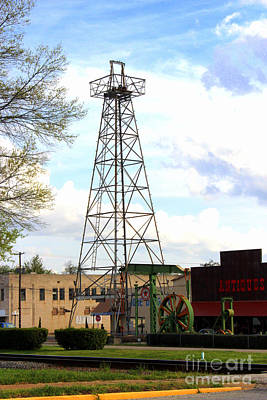 Downtown Gladewater Oil Derrick Poster by Kathy  White