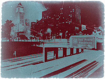 Downtown La Poster by Naxart Studio