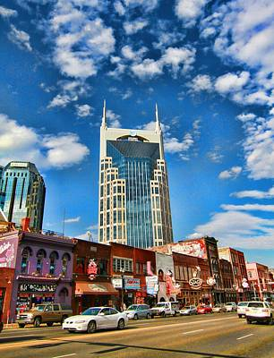 Downtown Nashville Blue Sky Poster by Dan Sproul