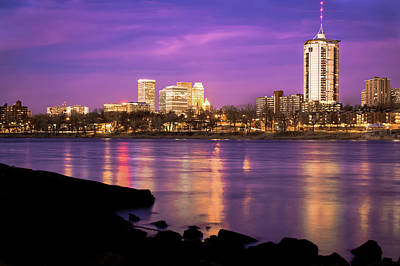 Downtown Tulsa Oklahoma - University Tower View - Purple Skies Poster by Gregory Ballos