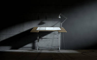 Drafting Desk Lamp And Paper Poster by Allan Swart