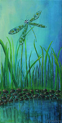 Dragonfly At The Bay Poster by Mindy Huntress