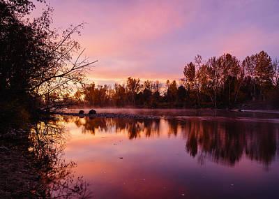 Dramatic Autumn Sunrise Along Boise River Boise Idaho Poster by Vishwanath Bhat