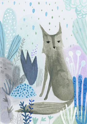 Dramatic Wolf In The Rain Poster by Kate Cosgrove
