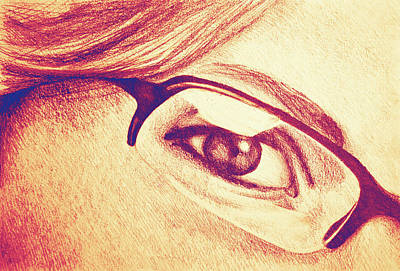 Drawing Of Girl With Glasses, Detail. Poster by Oana Unciuleanu