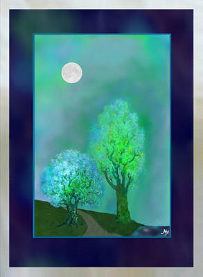 Dream Trees At Twilight With Borders Poster by Mathilde Vhargon