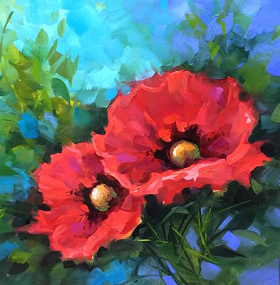 Dreams Of Flying Red Poppies Poster by Nancy Medina