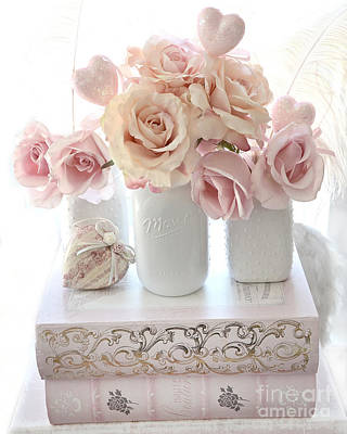 Dreamy Pastel Shabby Chic Peach And Pink White Roses - Cottage Shabby Chic Roses White Mason Jars  Poster by Kathy Fornal