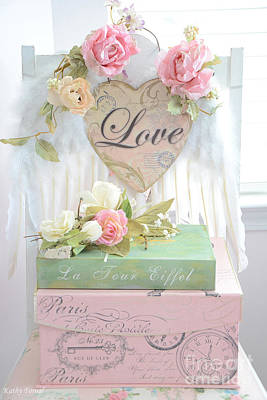 Dreamy Shabby Chic Pink Roses Heart - Paris Books Love Heart Valentine Print Poster by Kathy Fornal