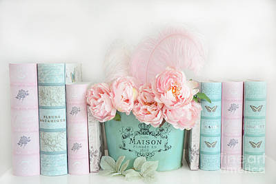 Dreamy Shabby Chic Paris Peonies Books Print - Pink Teal Peonies And Books Shabby Cottage Chic Decor Poster by Kathy Fornal