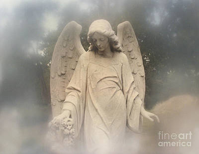 Dreamy Surreal Angel Art Fog Cemetery Poster by Kathy Fornal