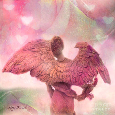 Dreamy Whimsical Pink Angel Wings With Hearts Poster by Kathy Fornal