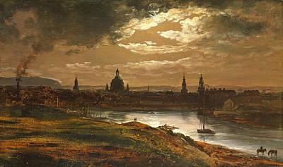 Dresden By Moonlight Poster by Johan Christian Dahl