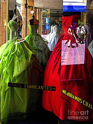Dress Shop Passerbys Poster by Mexicolors Art Photography