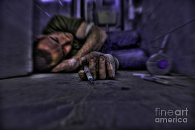 Drug Addict Shooting Up Poster by Guy Viner