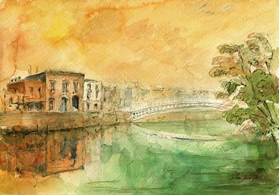 Dublin Ha'penny Bridge Painting Poster by Juan  Bosco