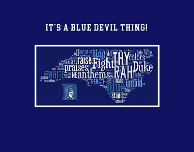 Duke University Blue And White Products Poster by Paulette B Wright
