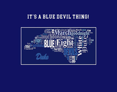 Duke University Fight Song Products Poster by Paulette B Wright