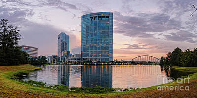 Dusk Panorama Of The Woodlands Waterway And Anadarko Petroleum Towers - The Woodlands Texas Poster by Silvio Ligutti
