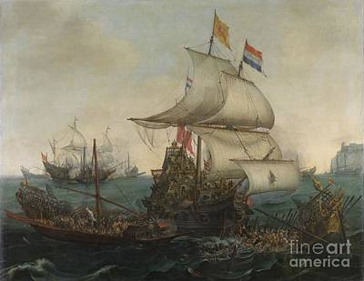Dutch Ships Ramming Spanish Galleys Off The Flemish Coast In October Poster by Celestial Images