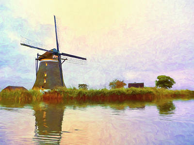 Dutch Windmill At Sunset Poster by Dominic Piperata