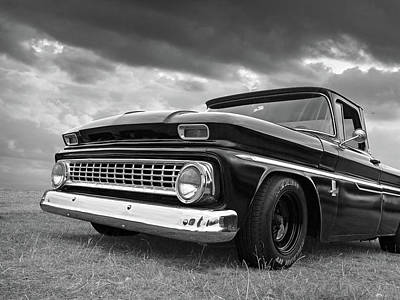 Early Sixties Chevy C10 In Black And White Poster by Gill Billington