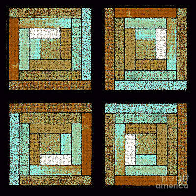 Earth And Sea Quilt Squares Poster by Karen Adams