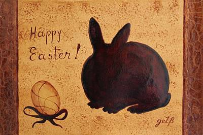 Easter Golden Egg And Chocolate Bunny Poster by Georgeta  Blanaru