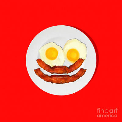 Eat Breakfast And Smile All Day Red Poster by Wingsdomain Art and Photography