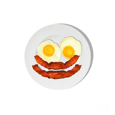 Eat Breakfast And Smile All Day Whi Poster by Wingsdomain Art and Photography