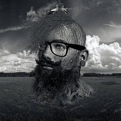 Eco Hipster Black And White Poster by Marian Voicu